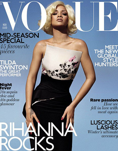 Rihanna, Marilyn Monroe - Rihanna aparece en la portada de Noviembre de Vogue con nuevo corte de pelo.